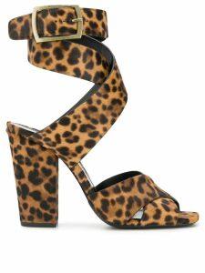Saint Laurent Oak leopard print sandals - Brown