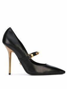 Versace Medusa Strap Gold Heel Pumps - Black