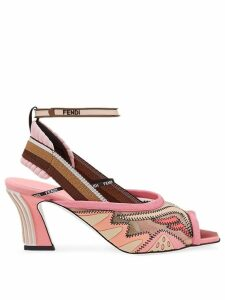 Fendi 105 mesh slingback sandals - PINK