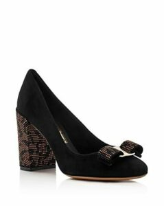 Salvatore Ferragamo Women's Vara Suede Embellished Block-Heel Pumps