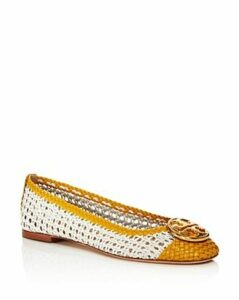 Tory Burch Women's Chelsea Woven Leather Cap-Toe Flats