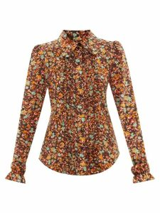 Aje - Astrid Neck Scarf Hammered Silk Blouse - Womens - Black