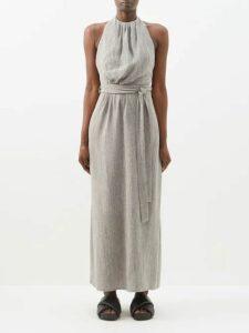 Cefinn - Tie-waist Gathered Voile Midi Dress - Womens - Black Multi