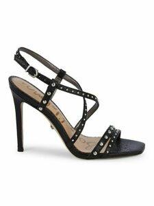 Lennox Studded Leather Slingback Heeled Sandals