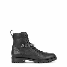 Jimmy Choo Cruz 40 Black Leather Biker Boots
