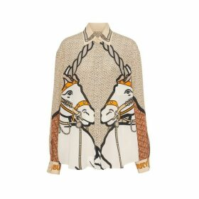 Burberry Unicorn And Monogram Print Silk Oversized Shirt