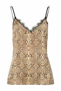 Anine Bing Snakeskin Printed Silk Camisole with Lace