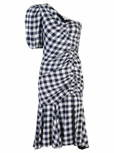 Jonathan Simkhai gingham asymmetric gathered dress - Blue