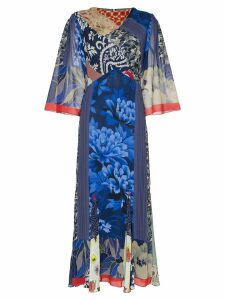 Etro Patchwork print cowl-neck silk dress - Blue