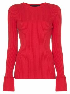 Juun.J Long-sleeved ribbed knit top - Red
