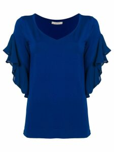 D.Exterior V-neck frilled blouse - Blue