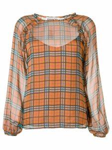 Essentiel Antwerp sheer check blouse - Brown