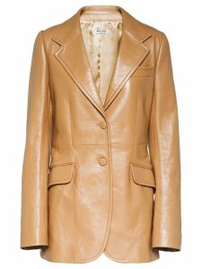 Miu Miu classic leather jacket - Brown
