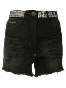 Philipp Plein distressed denim shorts - Black