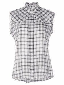 Nili Lotan sleeveless plaid shirt - White