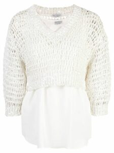 Brunello Cucinelli layered open knit jumper - White
