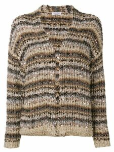 Brunello Cucinelli sequin embroidery striped cardigan - Brown