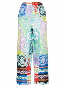 Versace mixed floral print cropped trousers - A7000 Multicolor