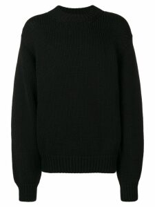Zilver Crew Neck Wool Jumper - Black