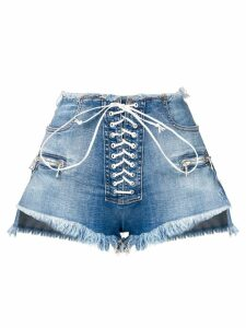 Unravel Project lace-up denim shorts - Blue