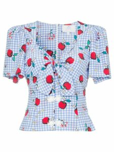 Rebecca De Ravenel apple print tie detail blouse - Blue