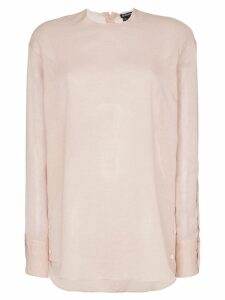 Ann Demeulemeester high neck side button top - PINK