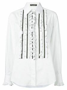 Dolce & Gabbana ruffle bib shirt - White