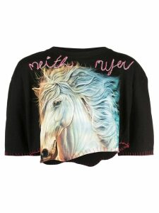 Neith Nyer horse cropped T-shirt - Black