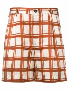 Berwich check pattern short shorts - Neutrals
