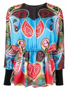 Romance Was Born Pagan Paisley Batwing Blouse - Blue