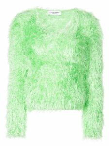Marine Serre fire fluffy knitted jumper - Green