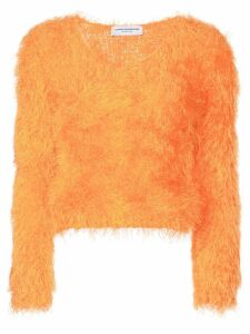 Marine Serre fluffy knitted sweater - Orange