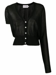 George Keburia contrast sleeve knitted cardigan - Black
