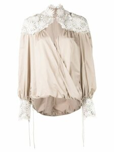 Rosie Assoulin floral embroidered details blouse - NEUTRALS