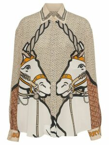 Burberry Unicorn and Monogram Print Silk Shirt - Brown