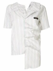 Ground Zero irregular draped striped shirt - White