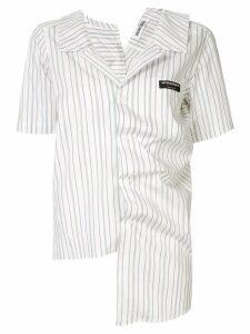 Ground Zero irregular draped striped shirt - White