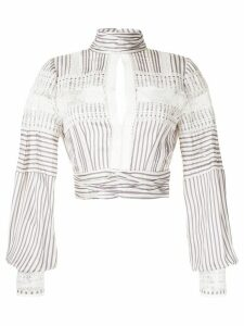 Self-Portrait key-hole striped blouse - White