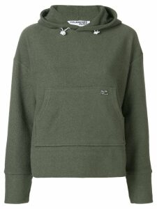 Courrèges embroidered logo hoodie - Green