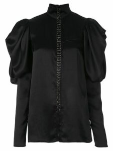 Vera Wang satin puff sleeve blouse - Black