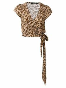 Andamane leopard print wrap top - NEUTRALS