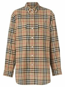 Burberry Button-down Collar Vintage Check Oversized Shirt - NEUTRALS