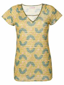 Kristina Ti v-neck printed top - Green