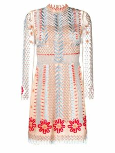 Temperley London sheer embroidered mini dress - Neutrals