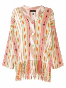 Alanui striped fringed cardigan - PINK
