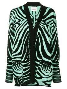 Laneus zebra knit cardigan - Black