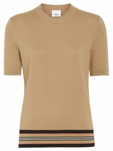 Burberry Short-sleeve Icon Stripe Detail Merino Wool Top - Brown