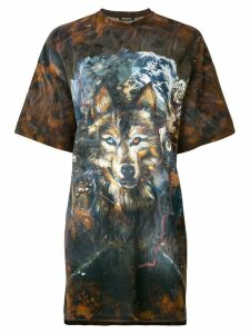 Balmain wolf print T-shirt - Brown