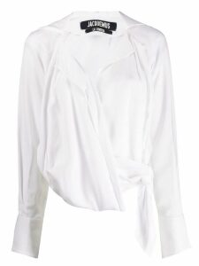 Jacquemus waist-tied draped blouse - White