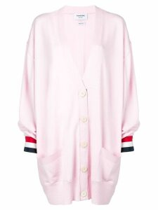 Thom Browne Rwb Cuff Oversized Merino Cardigan - Pink